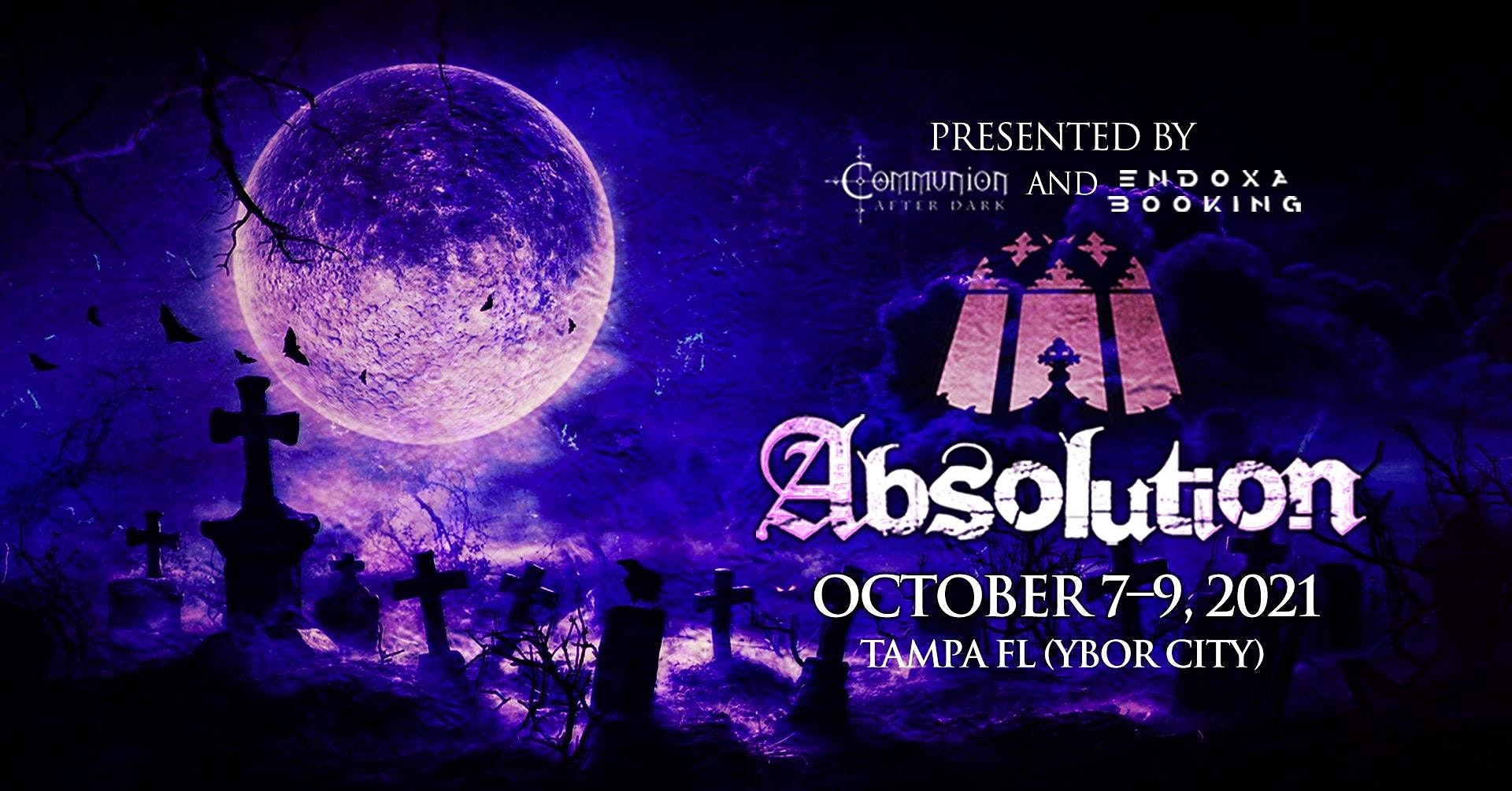 Absolution Fest 2021:  A Post-Punk / Darkwave / Goth music festival across two different venues.