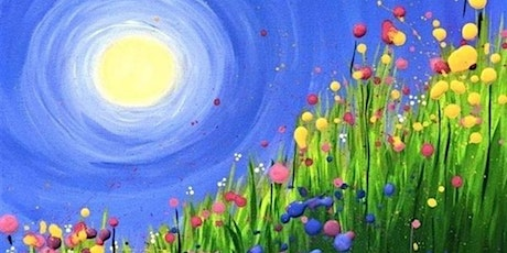 60min Learn to Paint a Landscape Scenery: Sunny Tulip Field @4PM  (Ages 6+) tickets