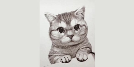 60min Animal Pencil Sketching Art Lesson - Kitty Kat @1PM (Ages 6+) tickets