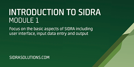INTRODUCTION TO SIDRA Module 1 [TE110] tickets