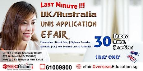 Study in Australia / UK E-Fair tickets