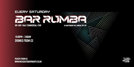 Bar Rumba // EVERY SATURDAY// £3 DRINKS tickets