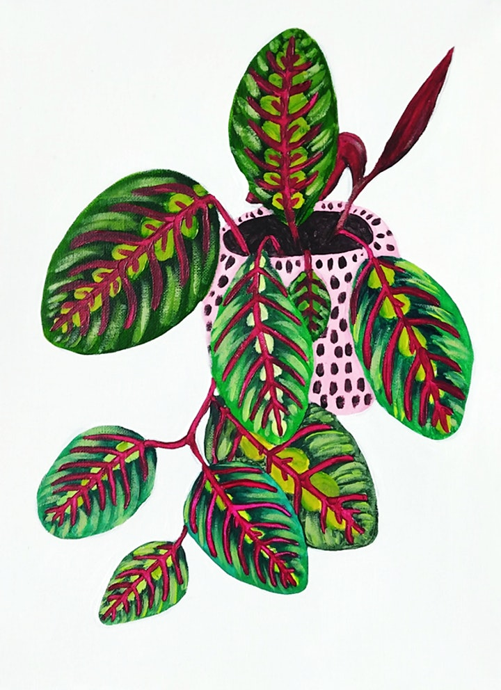 Funky Prayer Plant Painting - no drawing skills needed! image