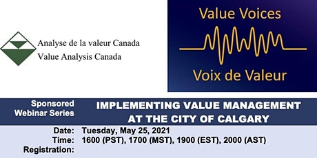 Implementing Value Management at the City of  Calgary tickets