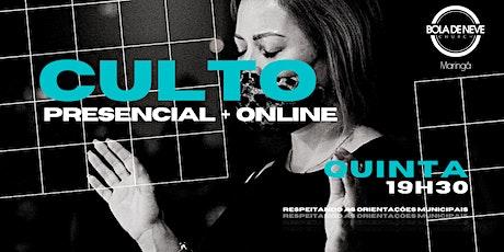 CULTO QUINTA (13/05) 19h30 ingressos