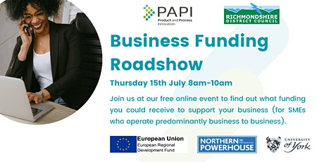 ONLINE EVENT  Business Funding Roadshow for RICHMONDSHIRE based businesses Tickets