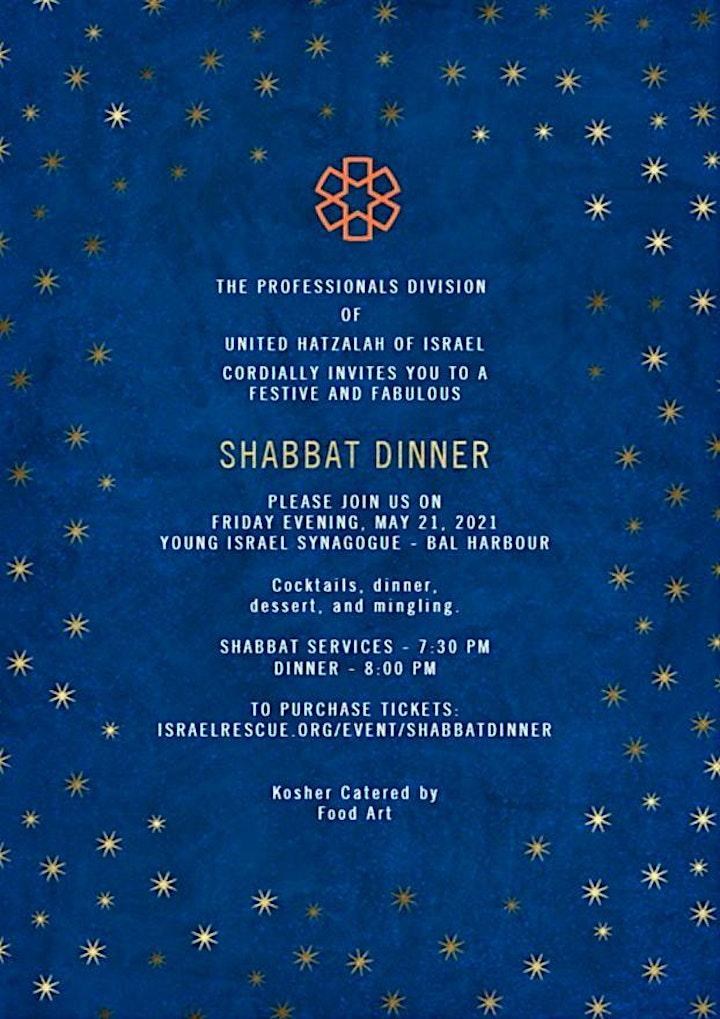 The Professionals Division of  United Hatzalah  Shabbat Dinner image