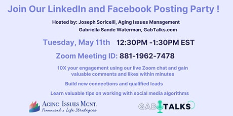 LinkedIn and Facebook Posting Party tickets