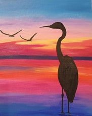 Bird silhouette with pink sunset tickets
