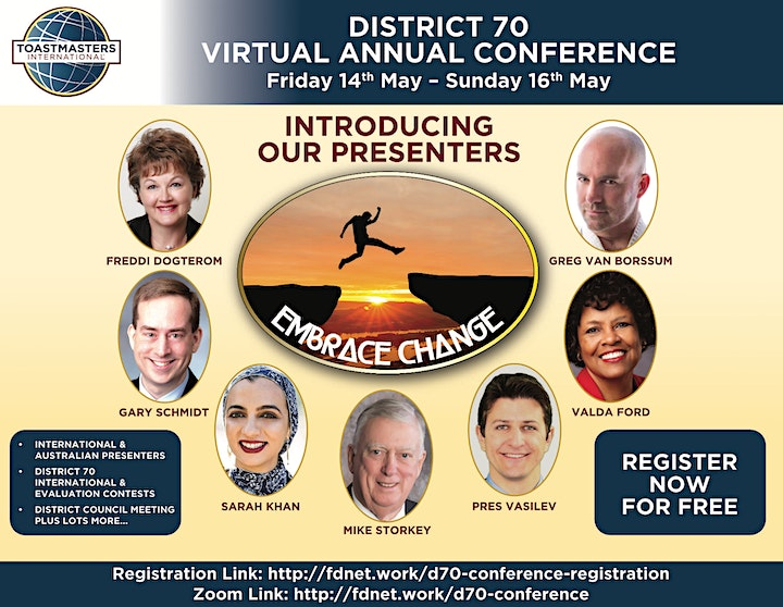 Toastmasters District 70 virtual Annual Conference - online from Australia image