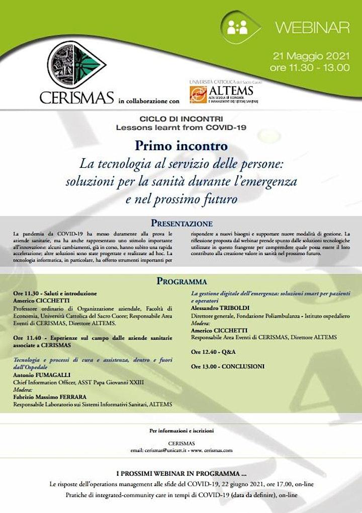 Immagine CERISMAS - La tecnologia al servizio delle persone: soluzioni per la sanità