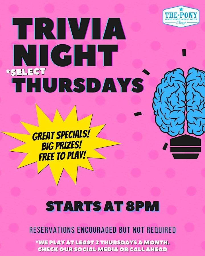 Thursday Night Trivia at The Pony image