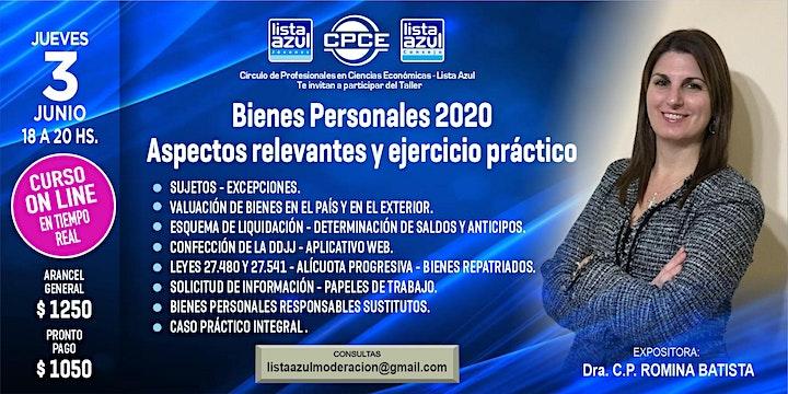Imagen de BIENES PERSONALES 2020 - ASPECTOS RELEVANTES Y EJERCICIO PRACTICO