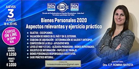 BIENES PERSONALES 2020 - ASPECTOS RELEVANTES Y EJERCICIO PRACTICO entradas