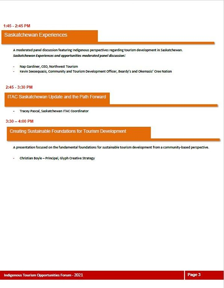 Saskatchewan Indigenous Tourism Opportunities Forum image