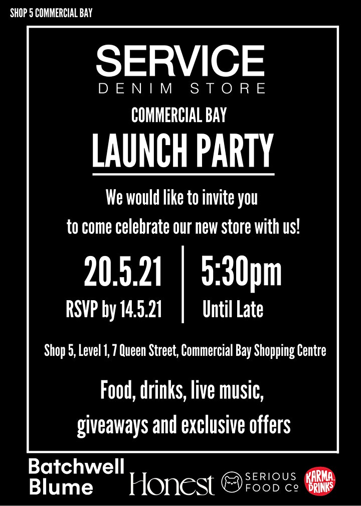 SERVICE DENIM Commercial Bay Launch Party image