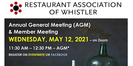 Restaurant Association of Whistler's 2021 Annual General Meeting tickets
