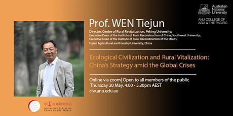 Prof. WEN Tiejun on Ecological Civilization and Rural Vitalization tickets