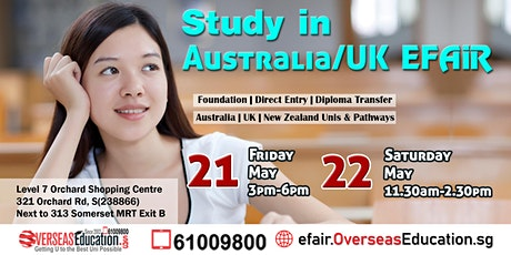 Study in Australia / UK E-Fair tickets