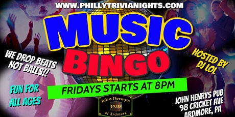 Friday Music Bingo at John Henrys Pub in Ardmore, PA tickets