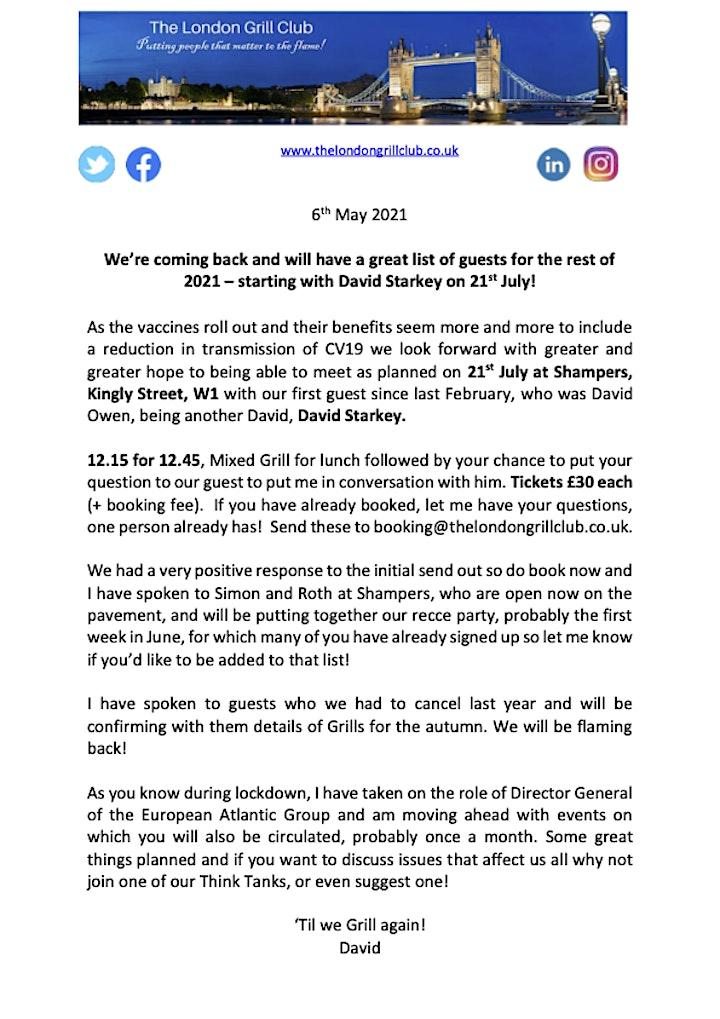 London Grill Club - 21 July 2021 with David Starkey image