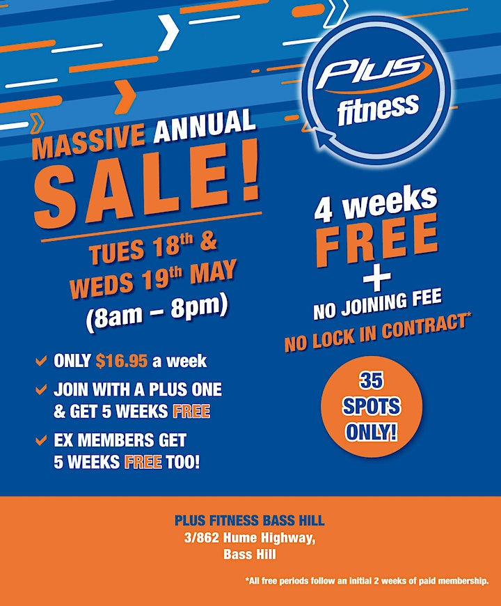 Plus Fitness Bass Hill BIGGEST EVER GYM SALE image