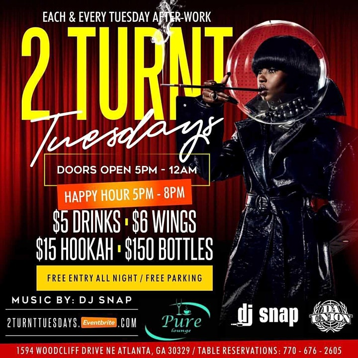 2 TURNT TUESDAYS THE BEST AFTER-WORK IN ATLANTA | NO COVER image