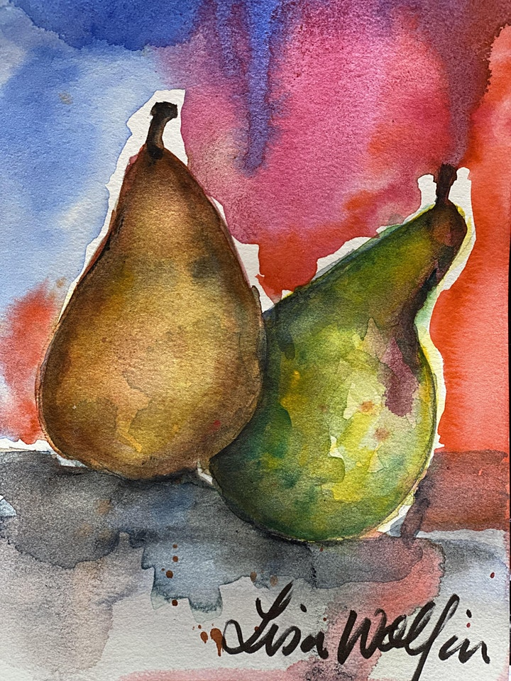 Pears in Watercolor - Art Class image