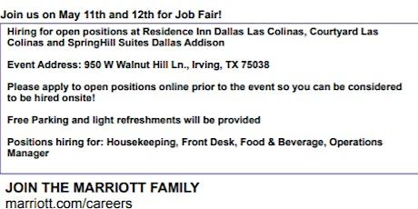 Marriott International Job Fair - 5/11-12 tickets
