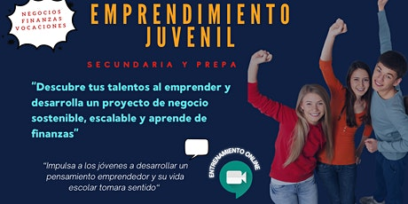 Emprendimiento Juvenil - entrenamiento online, jóvenes de 12 a 18 años boletos