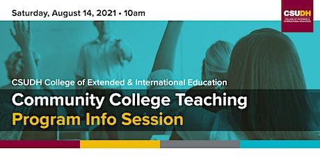 Info Session: Community College Teaching Cert. | CSUDH Webinar (8/14/21) tickets