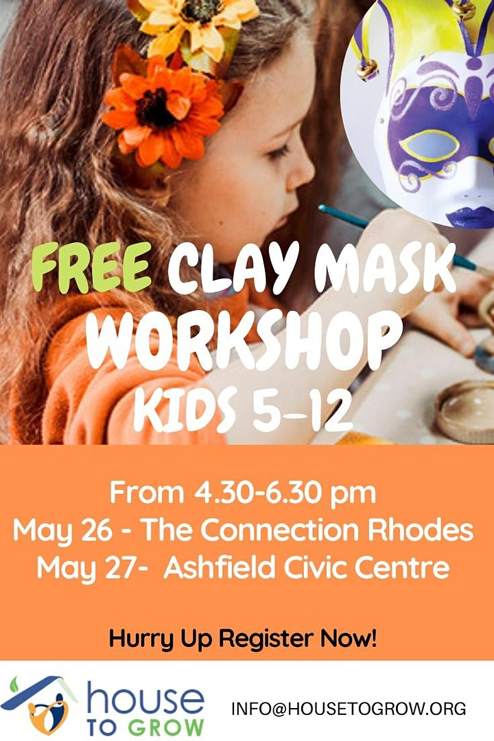 FREE CLAY MASK WORKSHOP FOR KIDS 5-12 YEARS OLD image