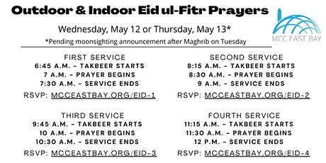 Eid ul-Fitr Prayer (*Pending Moonsighting) |  7 am Indoor & Outdoor Service tickets