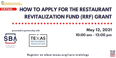 How To Apply For The Restaurant Revitalization Fund(RRF) Grant tickets