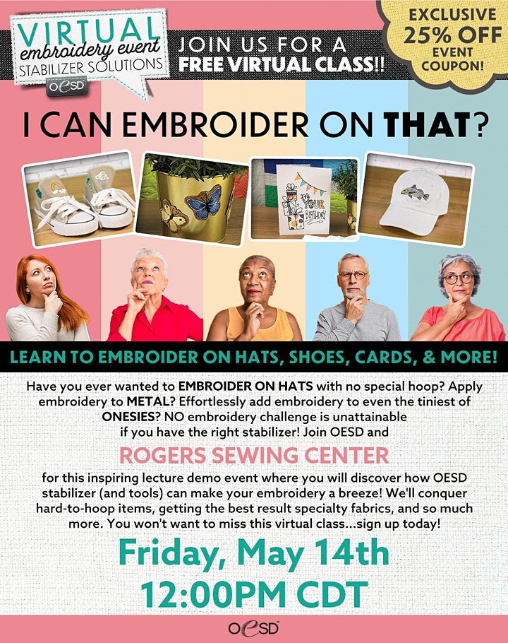 Rogers Sewing Center Virtual Embroidery Event image