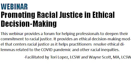 Promoting Racial Justice in Ethical Decision-Making tickets
