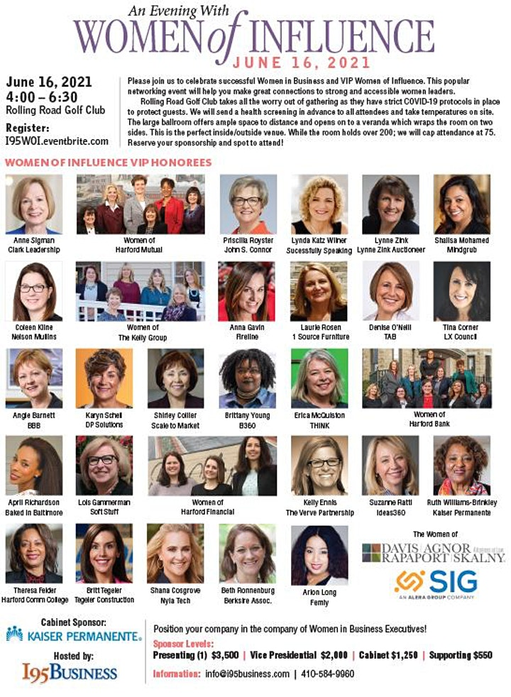 IN PERSON EVENT - I95 BUSINESS Annual Women of Influence (Balto Metro) @ Rolling Road Golf Club