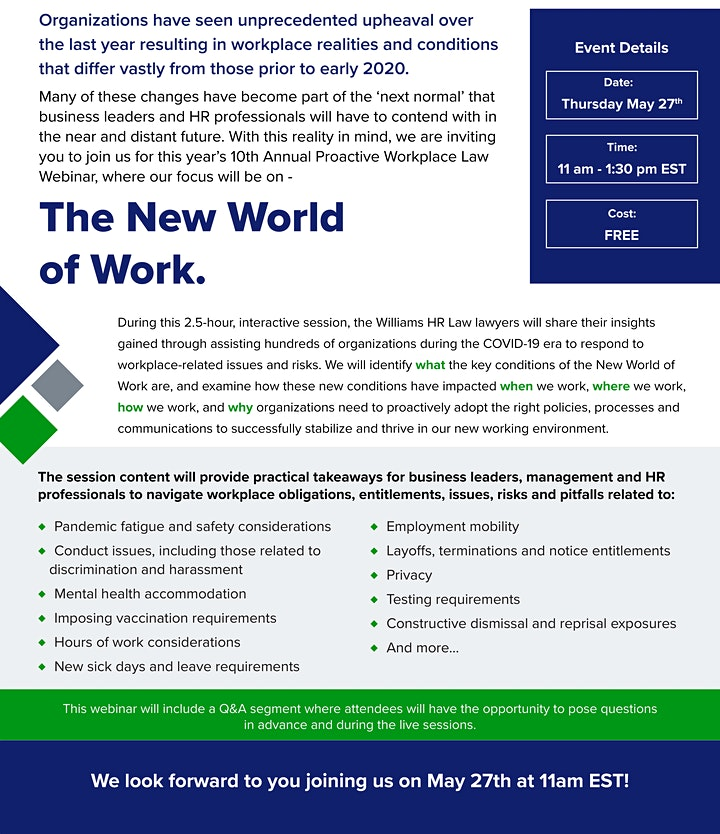 Tenth Annual Williams HR Proactive Workplace Webinar image