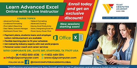 ONLINE ADVANCED EXCEL - PART 1 WITH A LIVE INSTRUCTOR tickets