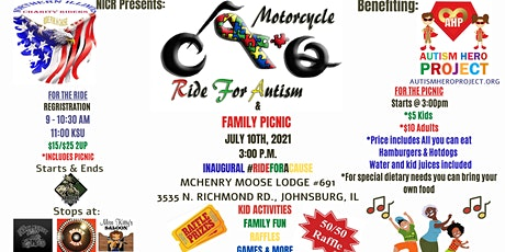 NICR RIDE FOR A CAUSE AND FAMILY PICNIC BENEFITING THE AUTISM HERO PROJECT tickets