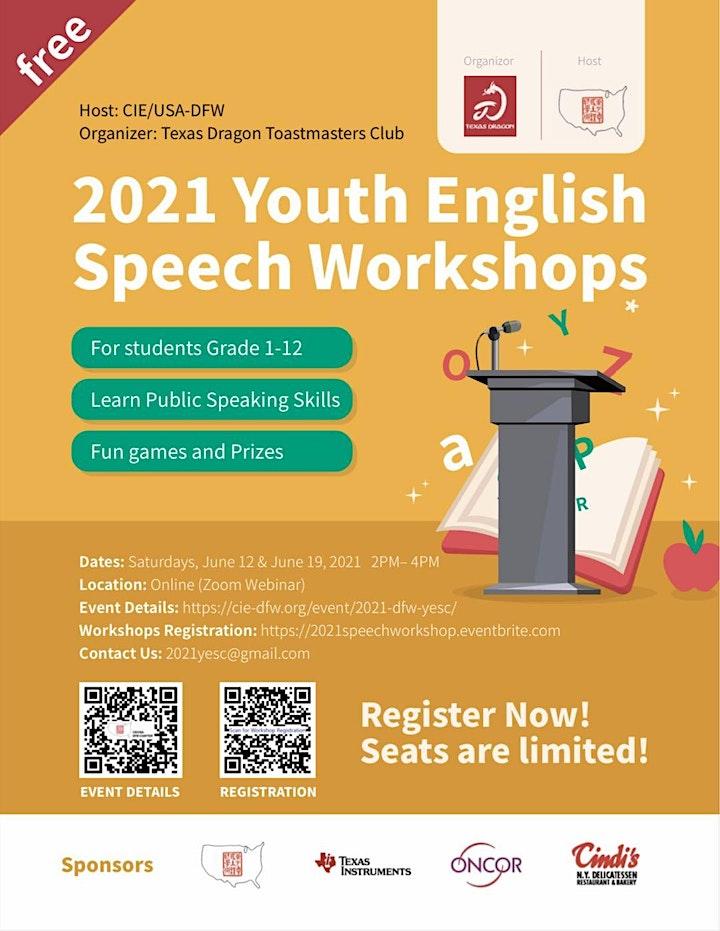 Free! 2021 Youth English Speech Workshops image