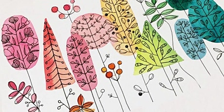 Watercolors, Lines and Patterns, Art Class for Teens & Adults tickets