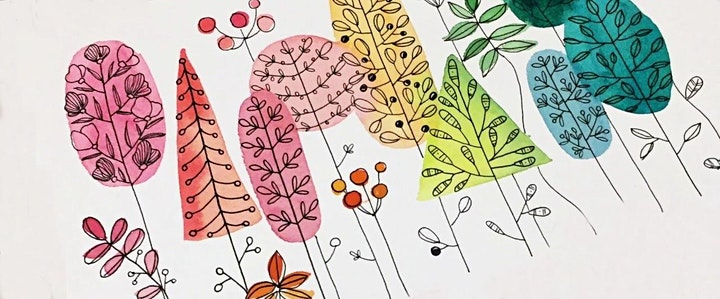 Watercolors, Lines and Patterns, Art Class for Teens & Adults image