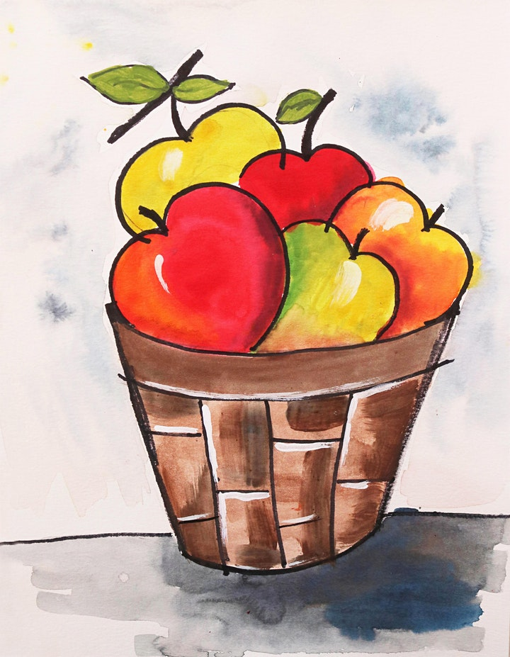 Apple Basket Watercolor  Art Class for Teens & Adults image