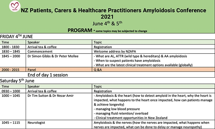 NZ Patients, Carers & Healthcare Practitioners Amyloidosis Conference 2021 image