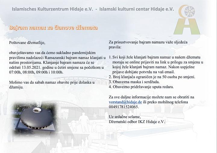 Bajram namaz za članove džemata u IKZ Hidaje 13.05.2021: Bild