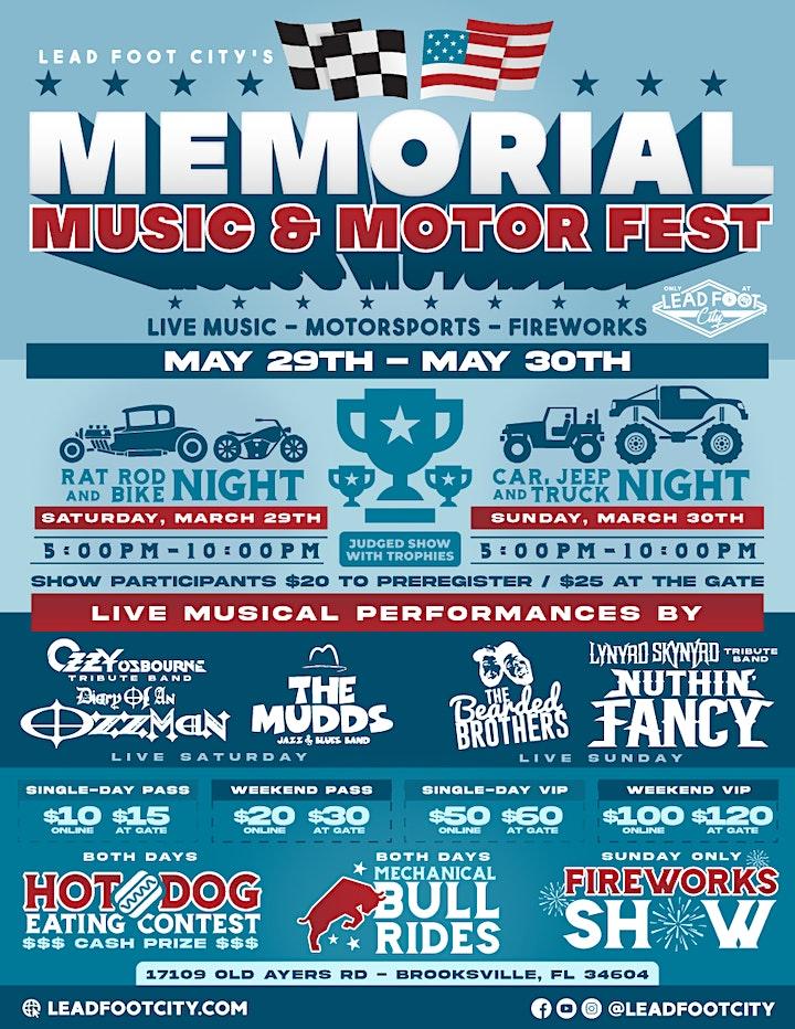 Memorial Motors & Music Festival (2 Days) - Fireworks, Live Bands, Car Show image