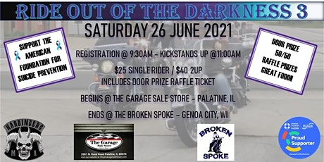 RIDE OUT OF THE DARKNESS 3 tickets