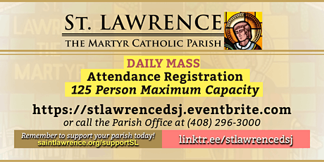 THURSDAY, May 20, 2021 @ 8:30 AM DAILY Mass Registration tickets