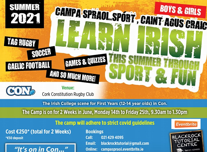 "Summer 2021 Sport & Fun  ""It's on in Con"" .  Irish Camp - Booking Deposit. image"